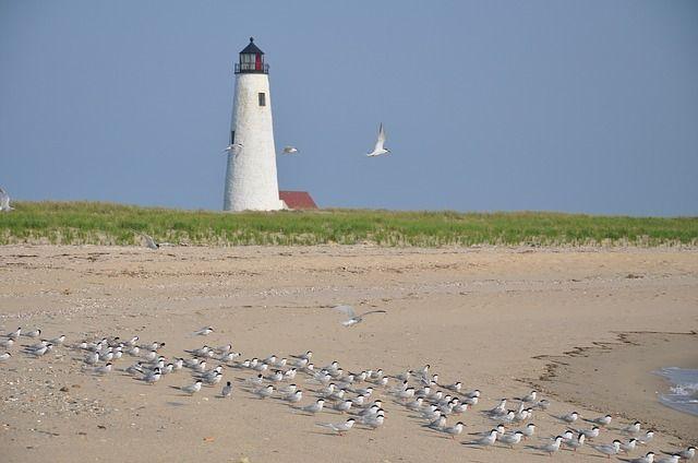 Nantucket Leuchtturm am Strand